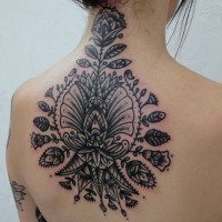 Baroque style black ink upper back tattoo of various flowers