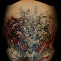 battimento di angeli e demoni tatuaggio pieno di schiena