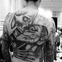 Beautiful Kissing man and woman santa muerte tattoo on back