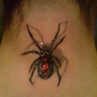 Beautiful  spider tattoo on neck