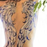Beautiful angel wing tattoo for women