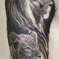 Beautiful black and gray lion family tattoo by Aron Szabo