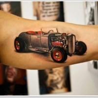 bellissima rossa nera antica macchina tatuaggio