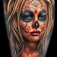 Beautiful blonde santa muerte girl tattoo