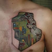 bellissimi colori circuito elettronico tatuaggio su petto