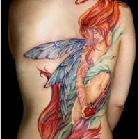 Beautiful colorful fairy tattoo design for girls