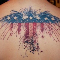 Beautiful colors of american flag eagle tattoo on back