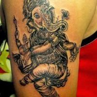 Beautiful dancing ganesha tattoo by Pranay Shah