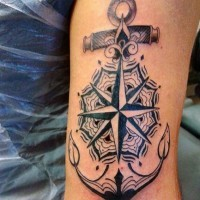 Beautiful designed black and white nautical tattoo with anchor and star on arm