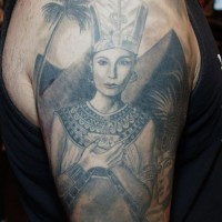 Beautiful egyptian queen tattoo on half sleeve