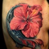 Beautiful hibiscus flower tattoo on ribs