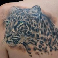 Beautiful jaguar tattoo on shoulder blade