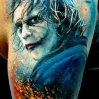 Beautiful joker tattoo by adam kremer