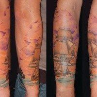 Beautiful looking colored arm tattoo of medieval sailing ship