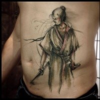 Beautiful looking colored belly tattoo of samurai warrior