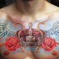 Beautiful looking colored chest tattoo of big crown with wings and flowers