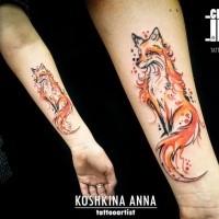 Wunderbar aussehend farbiger Unterarm Tattoo des tollen Fuchses