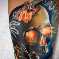 Beautiful looking colored mystical skull with glowing eye