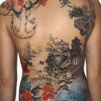 Beautiful looking colored whole back tattoo of Asian old house with tree and slope