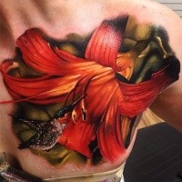 Beautiful looking realism style chest tattoo of large flower with bird
