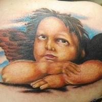 Tatuaggio classico sulla spalla l'angelo