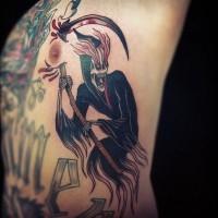 bellissima multicolore mistico maledetta fantasma della morte tatuaggio su lato