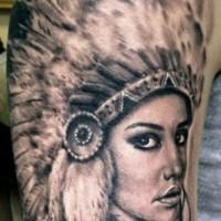 Beautiful native american girl tattoo by Hexa Salmela