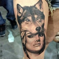 Beautiful native american girl with wolf mask tattoo on thigh byTee J Poole