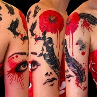 Beautiful painted big colored tattoo with flowers birds and feather on shoulder