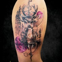 Beautiful painted colorful shoulder tattoo of little deer in night forest with moon