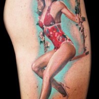 Beautiful pin up girl on a swing tattoo by Rember Orellana