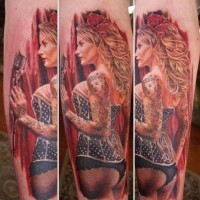 Beautiful pin up singer girl tattoo