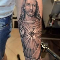 Beautiful portrait of jesus forearm tattoo