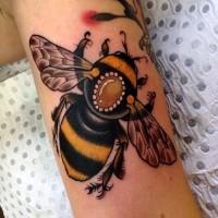 Beautiful realistic bumble bee tattoo on arm