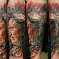 Beautiful realistic native american forearm tattoo by Dmitriy Samohin
