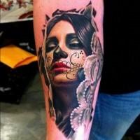 Beautiful santa muerte girl tattoo