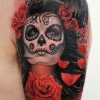 Beautiful santa muerte girl with red roses and black raven tattoo
