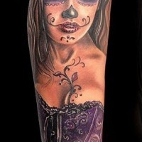 Beautiful santa muerte in a purple corset tattoo