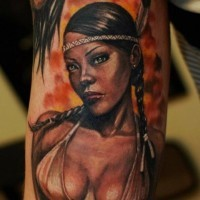 Beautiful sexy native american girl tattoo by Ivan Bor