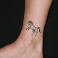 bellissimo piccolo cavallo grigio tatuaggio su caviglia