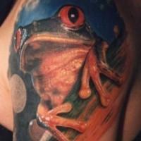 Beautiful tree frog tattoo on half sleeve