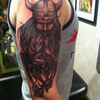 Beautiful viking with a thick beard tattoo on half sleeve
