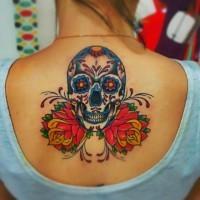Beautiful vivid colors sugar skull tattoo on back for girls