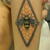 Bee and honeycomb tattoo on arm