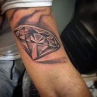 Big 3D like black ink diamond tattoo on arm