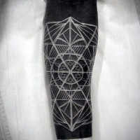 Big 3D like white ink beautiful ornament tattoo on arm