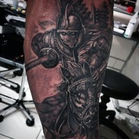 Big 3D style painted colored medieval knight tattoo