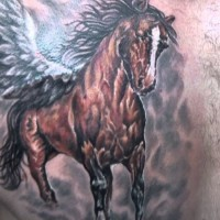Big beautiful dark horse tattoo on chest for men