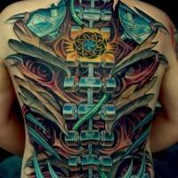 Big biomechanical tattoo on back