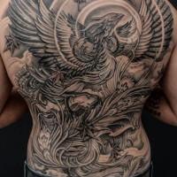 Big black and gray phoenix tattoo by Winson